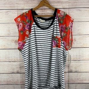 NWT Loralette Floral & Striped Top